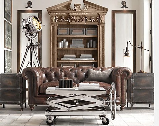 though an ancient chesterfield or a simple rustic framed sofa would do